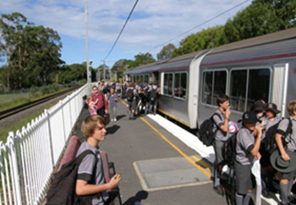 Students taking a train