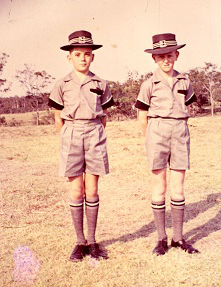 This 88mm x 134mm colour photograph was taken in 1958, and shows the first two students enrolled at Iona College, Simon Turner on the left, and John Ousley on the right.