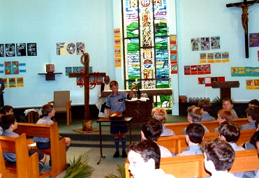 Junior School students attending mass in the college chapel in 2003