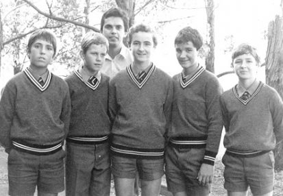 Brian Townsend with debating students 1985